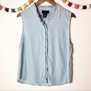 Cynthia Rowley Ruffled Button Up Tank Size Large